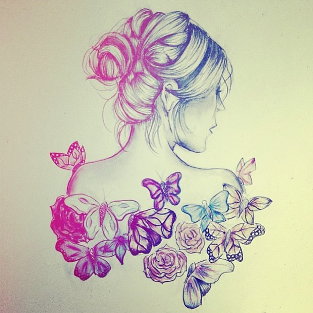 Girl With Flowers Sketch