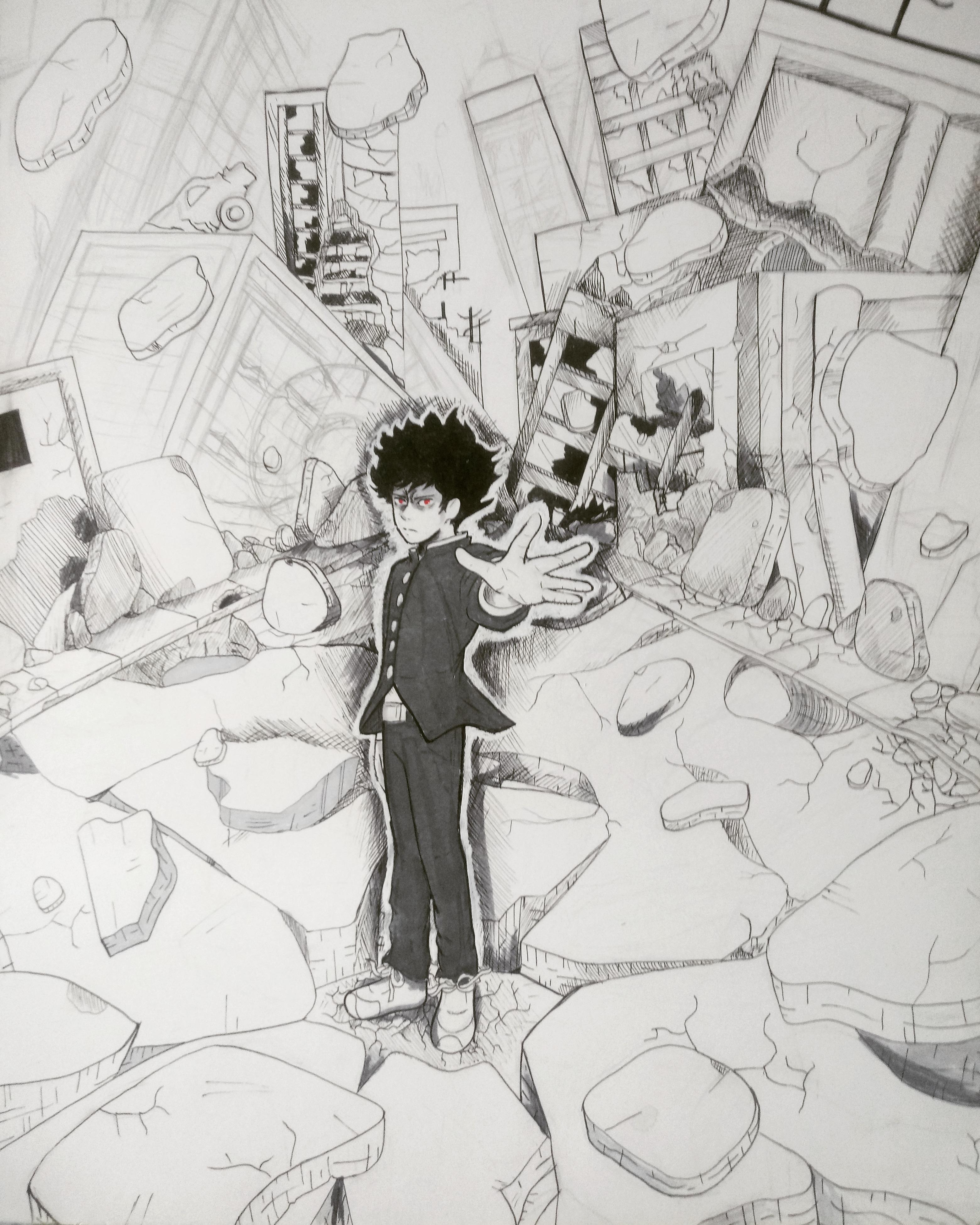 Mob Psycho 100 Drawing Sketch